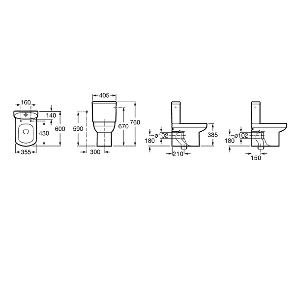 Roca Senso Compact Close Coupled Complete WC and Seat-18425