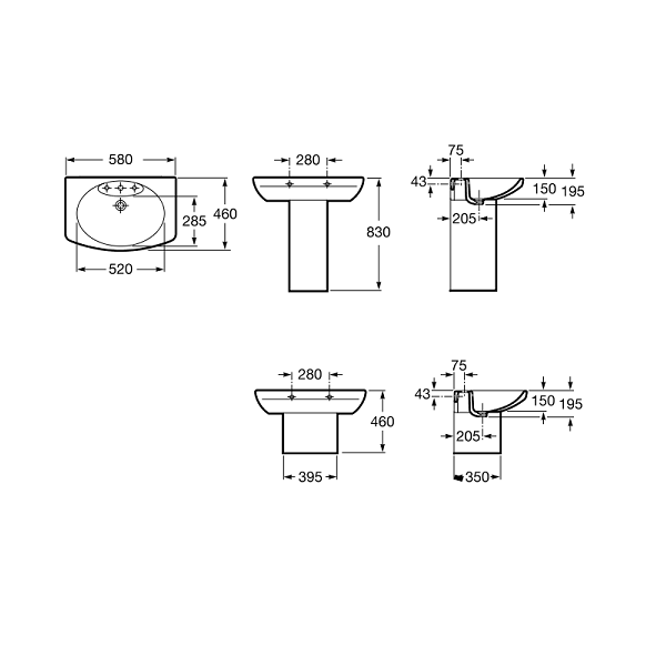 Roca Senso Wall Mounted 580 x 460mm 1 Tap Hole Basin-18827