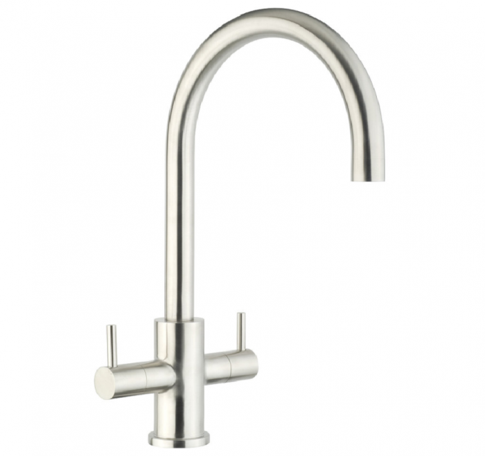 JTP Zecca lever mono sink mixer stainless steel swivel spout