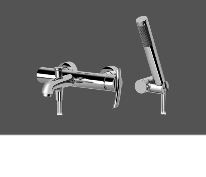 Graff Tranquility Polished Chrome Wall Mounted Bath & Shower Mixer with Hand Shower Set