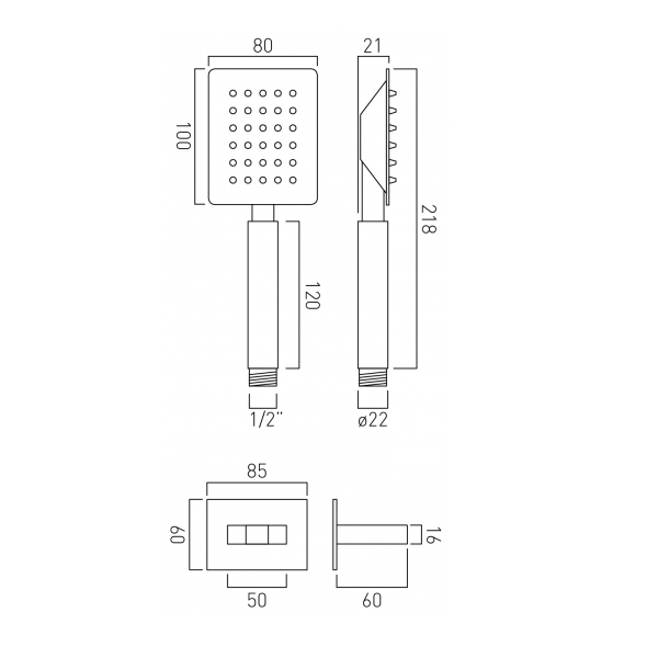 Vado Aquablade Chrome Square Mini Shower Handset Kit-20720