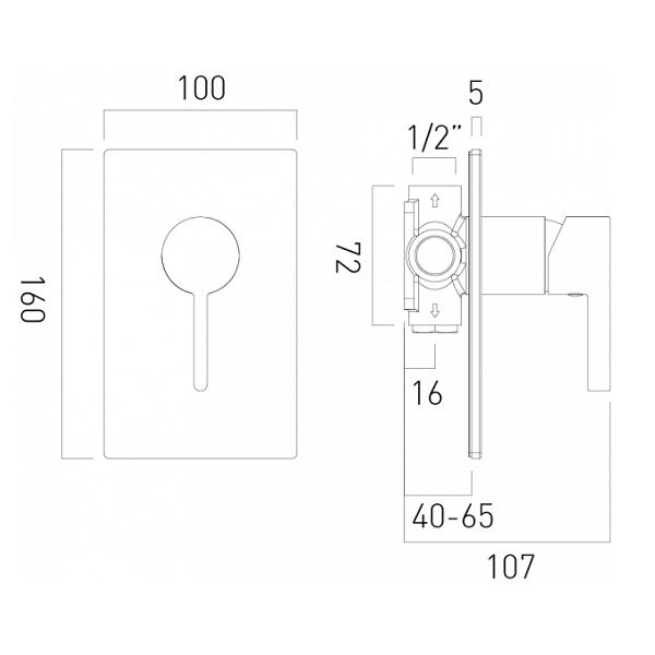 Vado Edit Chrome Single Lever Concealed Manual Shower Valve-20652