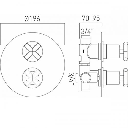 Vado Elements 1 Outlet 2 Handle Concealed Thermostatic Shower Valve-20249