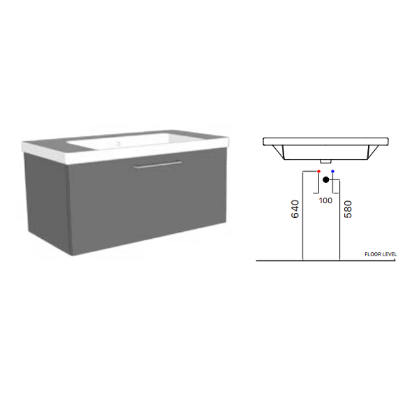 STOCK GSI Norm 90 1 Tap Hole Washbasin With Overflow GS8688-20275
