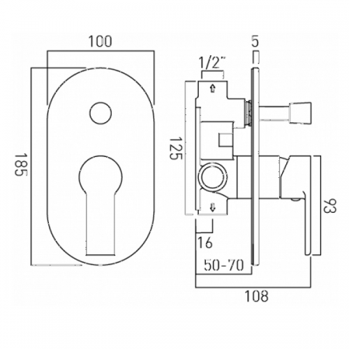 Vado Ion Concealed Manual Shower Valve With Diverter-20550