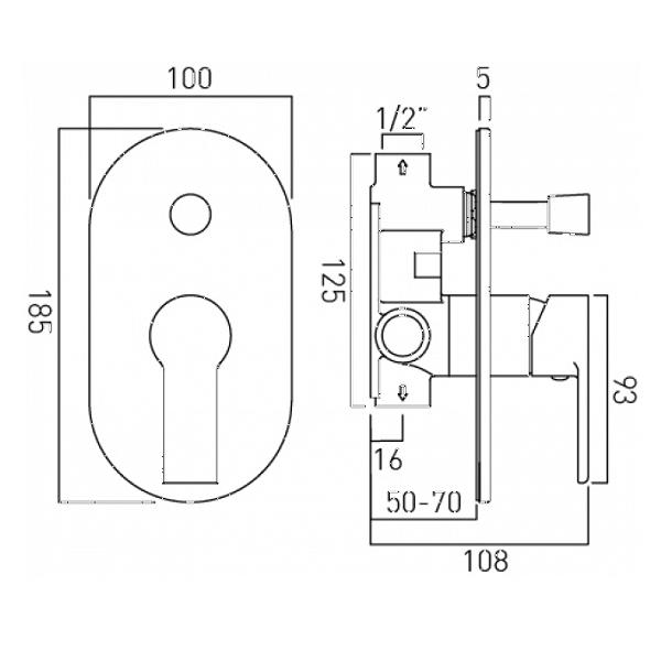 Vado Ion Concealed Manual Shower Valve With Diverter-20550