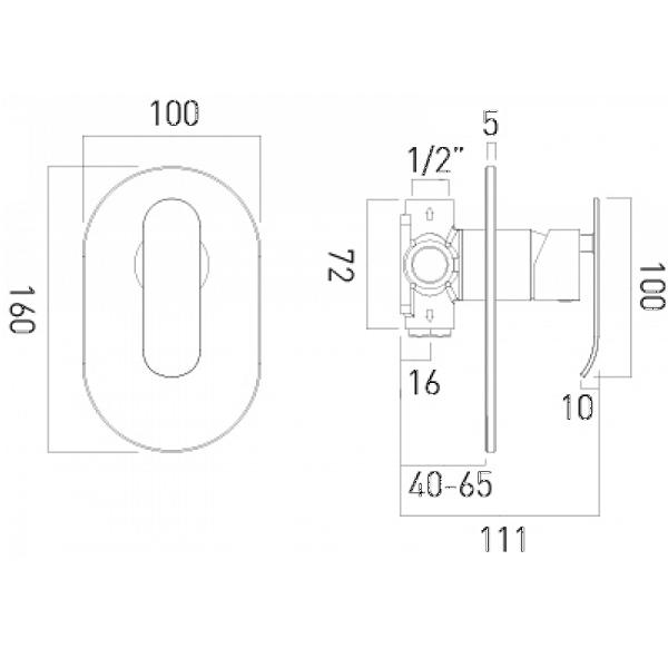 Vado Kovera Single Lever Concealed Manual Shower Valve-20647