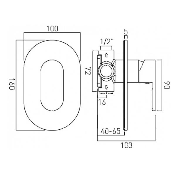Vado Life Chrome Single Lever Concealed Manual Shower Valve-20668