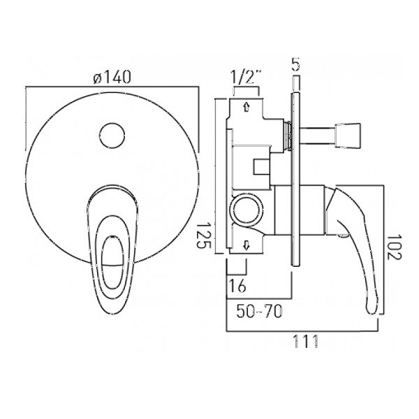 Vado Magma Concealed Manual Shower Valve With Diverter-20564