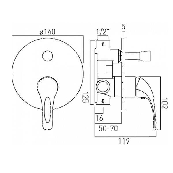 Vado Matrix Concealed Manual Shower Valve With Diverter-20573