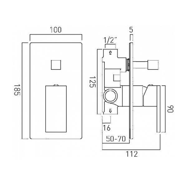 Vado Notion Concealed Manual Shower Valve With Diverter-20479