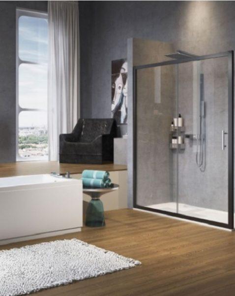 STOCK Novelling Zephyros Two Part Black Sliding Shower Door 1140 - 1200mm