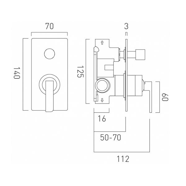 Vado Omika Concealed Manual Shower Valve With Diverter-20440