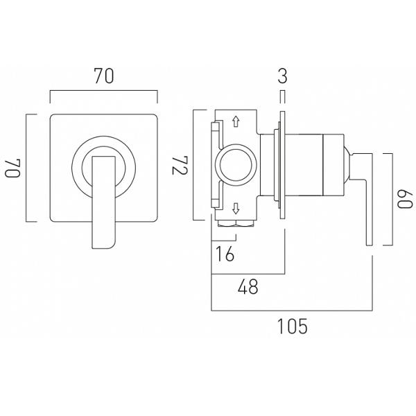 Vado Omika Single Lever Concealed Manual Shower Valve-20612