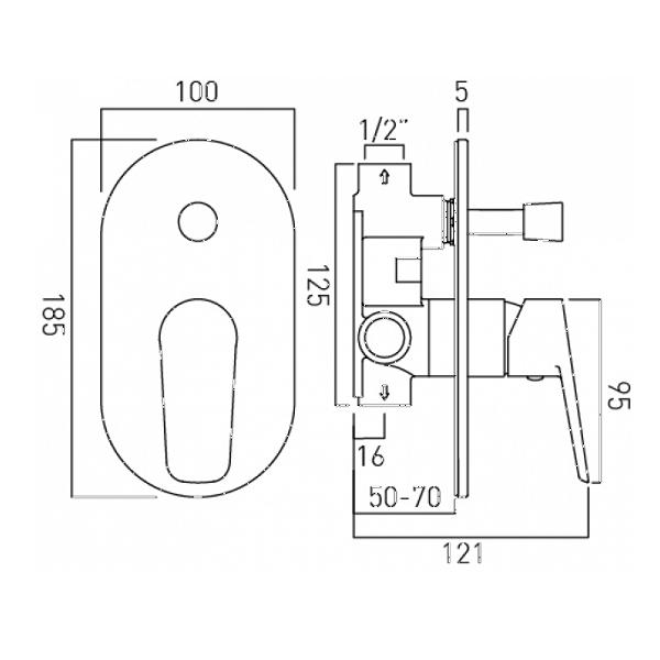 Vado Photon Chrome Concealed Shower Valve With Diverter-20539
