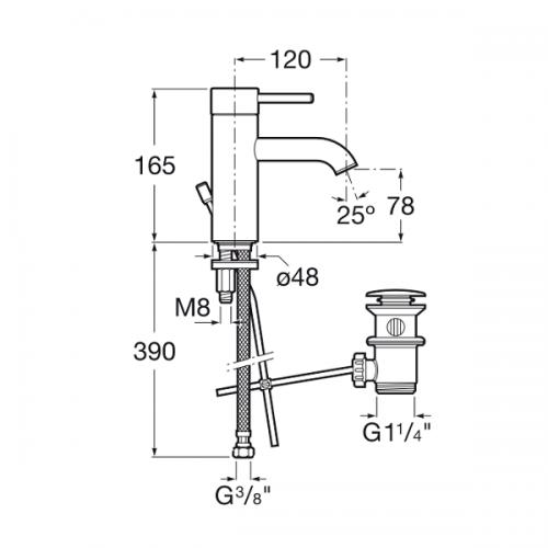 Buy Roca Lanta Single Lever Basin Mixer With Pop Up Waste-19073