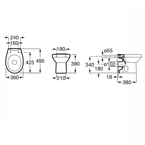 Buy Roca Laura 495mm Projection Back To Wall Pan and Seat-19027