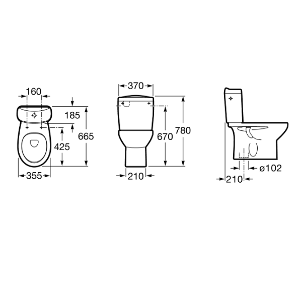 Buy Roca Laura 665mm Projection Close Coupled Eco Toilet-19012
