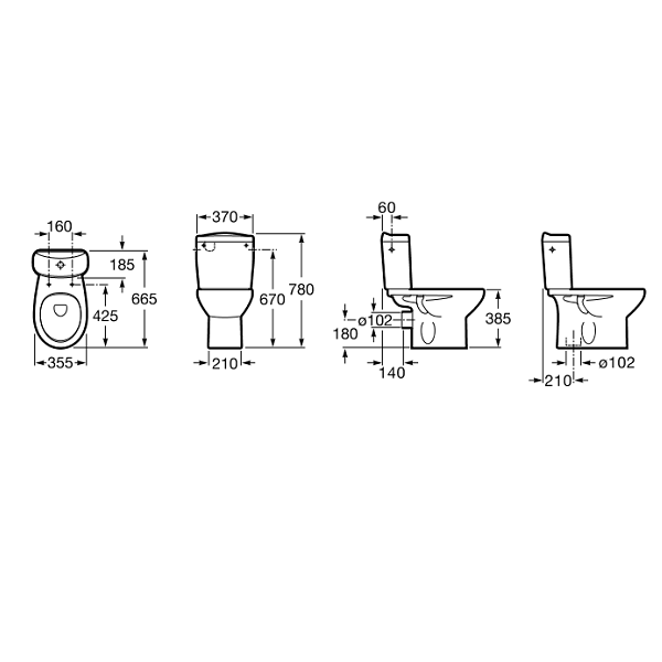 Buy Roca Laura Open Back 665mm Projection Complete Toilet-18997
