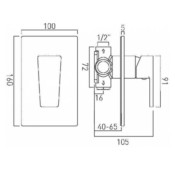 Vado Synergie Single Lever Concealed Manual Shower Valve-20655