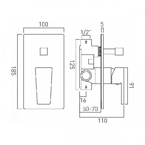 Vado Synergie Concealed Manual Shower Valve With Diverter-20475