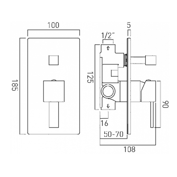 Vado Te Chrome Concealed Manual Shower Valve With Diverter-20494