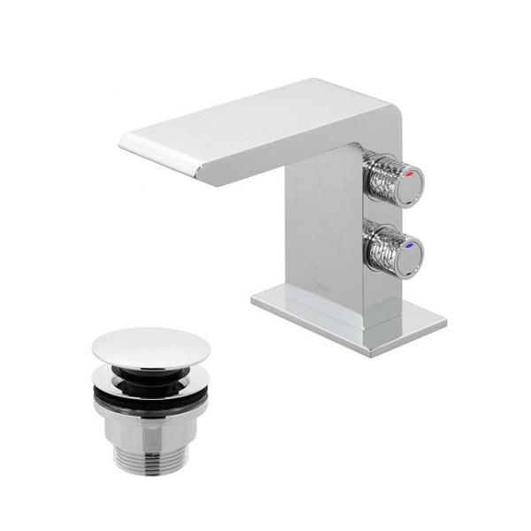 Vado Omika Chrome Mini Basin Mixer With Universal Basin Waste-0