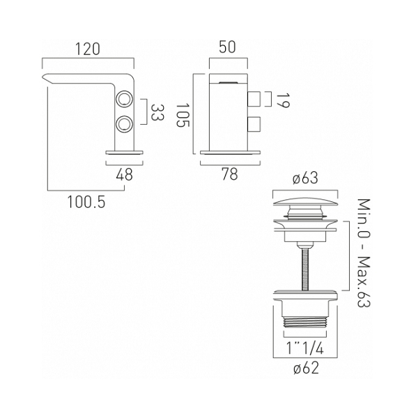Vado Omika Chrome Mini Basin Mixer With Universal Basin Waste-20102