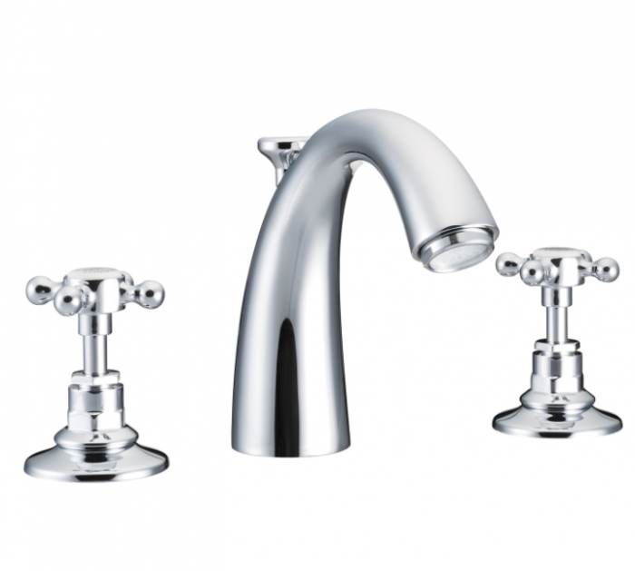 St James Collection London Handle Classical Spout Three Hole Basin Mixer SJ404-CP-LH