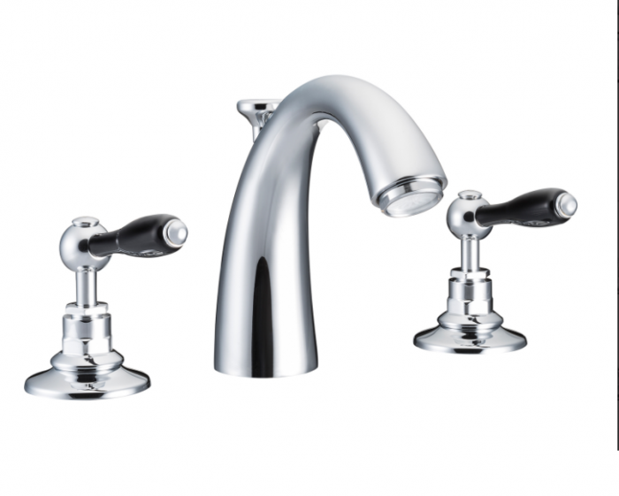 St James Collection Black English Lever Classical Spout Three Hole Basin Mixer SJ404-CP-ELBK