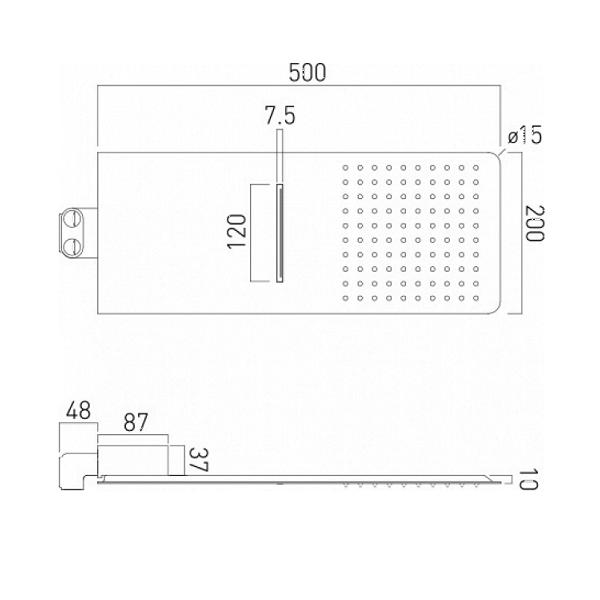 Vado Aquablade 2 Function Square Wall Mounted Shower Head-20852