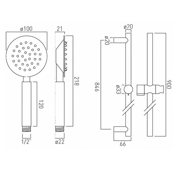 Vado Aquablade 900mm slide rail shower kit with single-function handset-20757