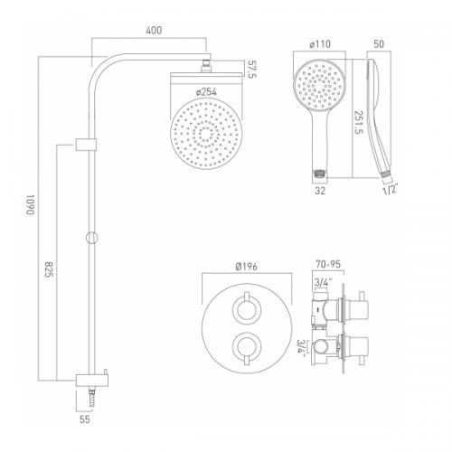 Vado Celsius Concealed Thermostatic Rigid Riser Shower Kit-21634
