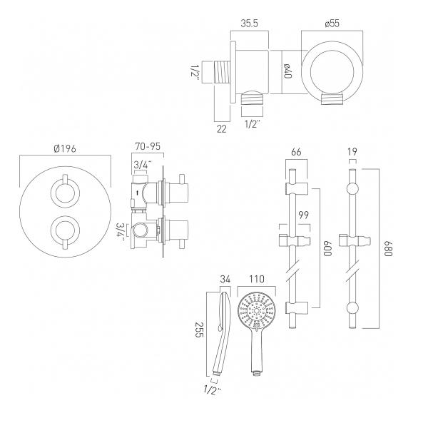 Vado Celsius Single Outlet Shower Valve With Slide Rail Kit-21553
