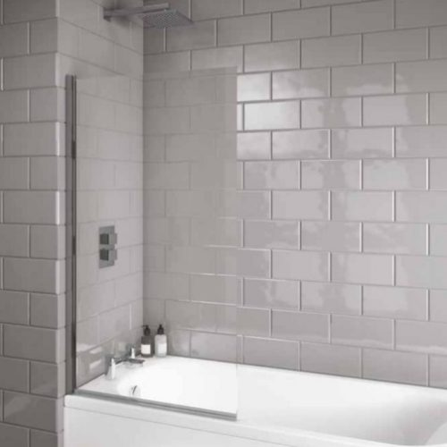 Evoke 6mm Square Modern Bath Screen in Stock