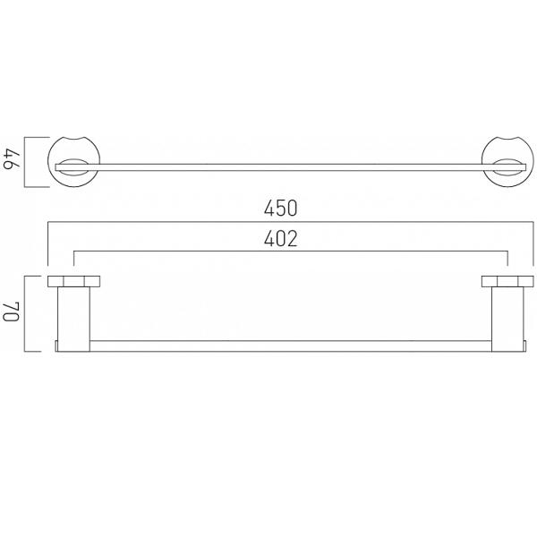 Vado Kovera Wall Mounted Chrome 450mm Single Towel Rail-21007