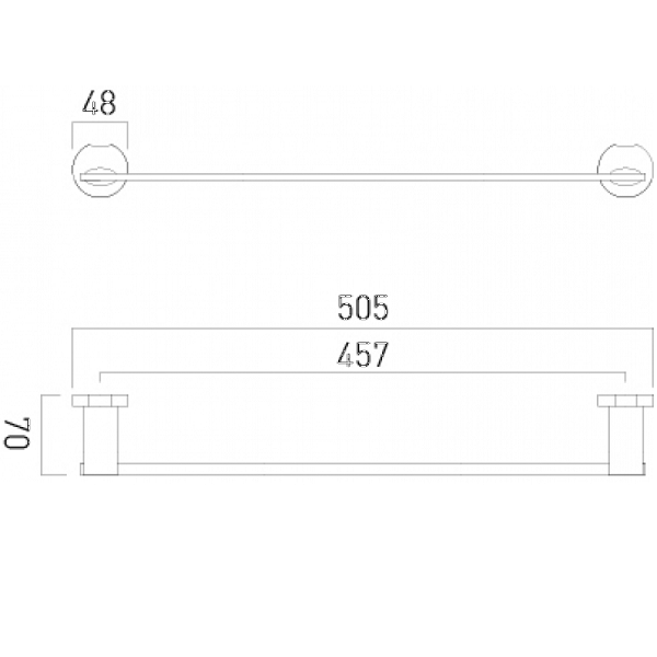 Vado Kovera Wall Mounted Chrome 505mm Single Towel Rail-21026