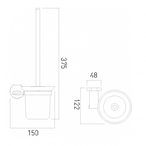 Vado Kovera Wall Mounted Toilet Brush With Glass Holder-21077