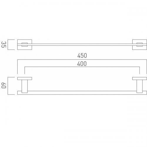 Vado Level Wall Mounted Chrome 450mm Single Towel Rail-21167