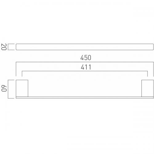 Vado Phase Wall Mounted Chrome 450mm Single Towel Rail-21247