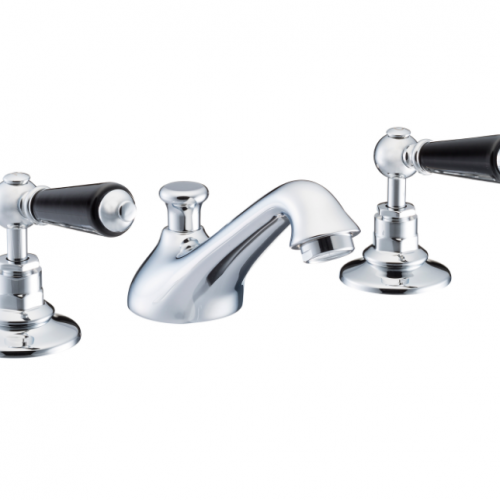 St James Collection Black London Lever Three Hole Basin MIxer SJ400-CP-LLBK