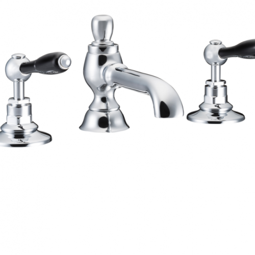St James Collection Black English Lever Colonial Spout Three Hole Basin Mixer SJ402-CP-ELBK