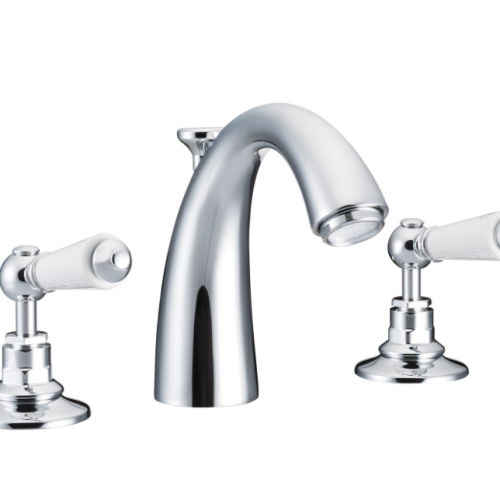 St James Collection London Lever Classical Spout Three Hole Basin Mixer SJ404-CP-LL