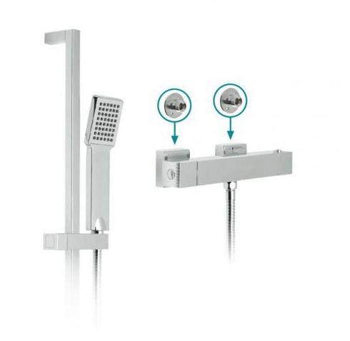 Vado Te Thermo Slide Rail Shower Kit With Exposed Valve-0