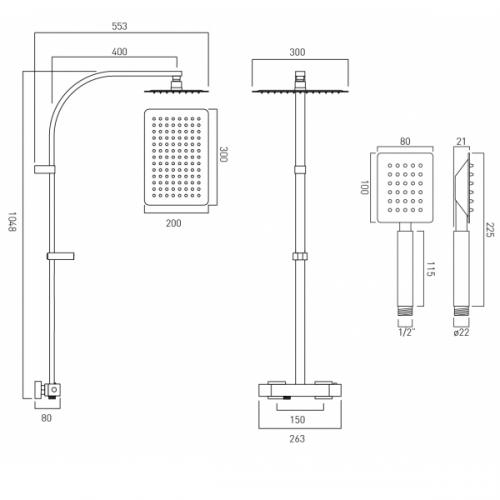 Vado Velo Aquablade Concealed Thermostatic Rigid Riser Shower Kit-21643