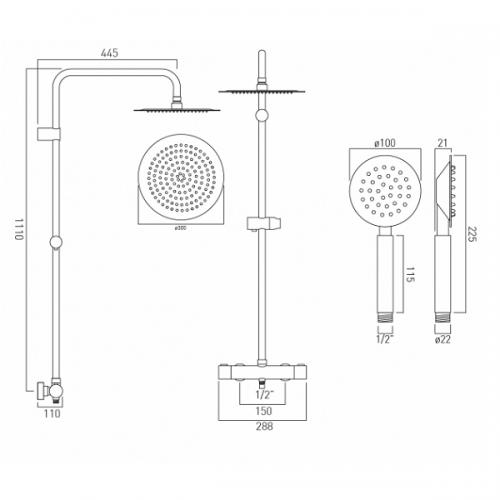 Vado Velo Aquablade Concealed Thermostatic Rigid Riser Shower Kit-21651