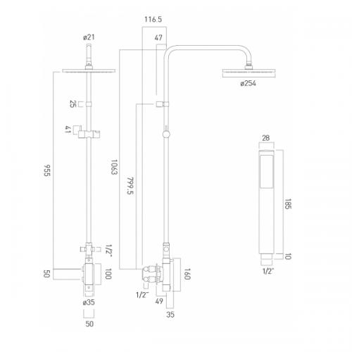 Vado Vertix Round Thermostatic Rigid Riser Shower Kit-21661