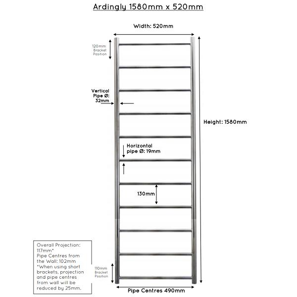 JIS Ardingly Stainless Steel 1580x520mm Heated Towel Rail-22417