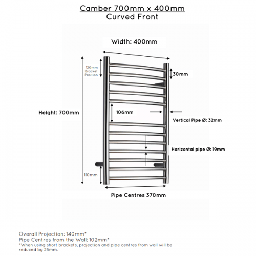 JIS Camber Curved Stainless Steel 700x400mm Heated Towel Rail-22443