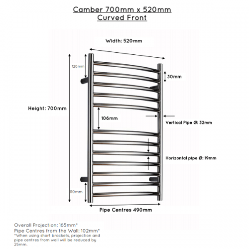 JIS Camber Curved Stainless Steel 700x520 Heated Towel Rail-22449